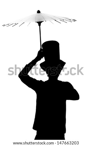 Silhouette of a man in a hat with an umbrella. - stock photo