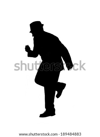 Silhouette of a man in a suit and hat swing dancing isolated on  white. - stock photo