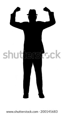 Silhouette of a man in a suit and hat with arms raised to show strength  and power isolated on white. - stock photo