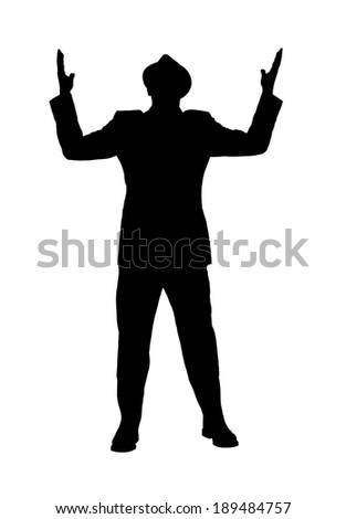 "Silhouette of a man in a suit and hat with looking to heaven with his arms raised as if he is saying ""why"" or ""why me god"" isolated on white. - stock photo"