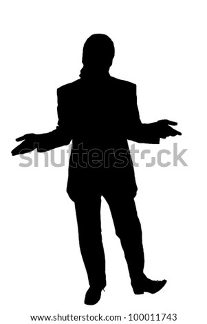 silhouette of a man in a suit shrugs - stock photo