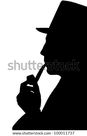 Silhouette of a man in a top-hat smoking pipe - stock photo