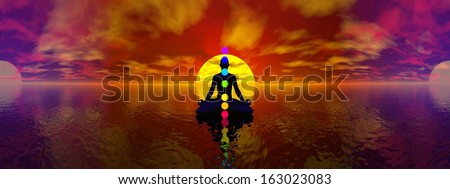 Silhouette of a man meditating with seven colorful chakras upon ocean by blue light, 360 degrees panoramic effect - stock photo