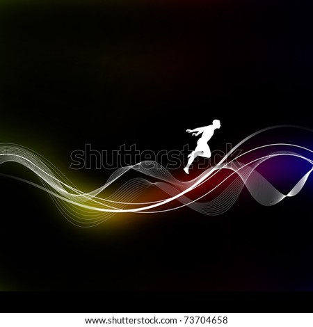 Silhouette of a man on a dark background on the multi-colored lines. Abstraction. - stock photo