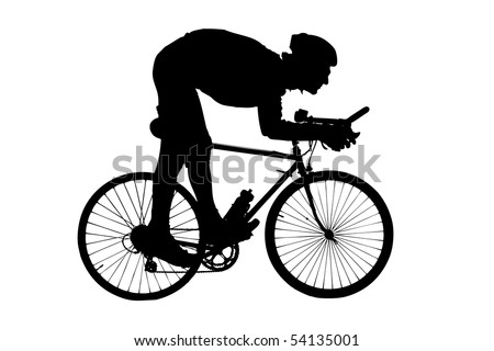 Silhouette of a man riding a bicycle isolated on white background - stock photo