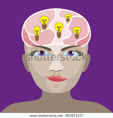 silhouette of a man s head with a glowing light bulb - stock photo