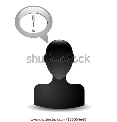 silhouette of a man's head with an exclamation - stock photo