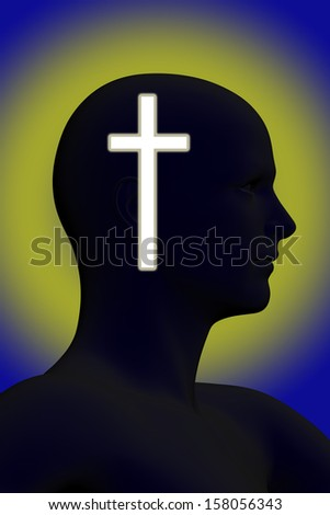 Silhouette of a mans head with glowing cross on it made in 3d software - stock photo