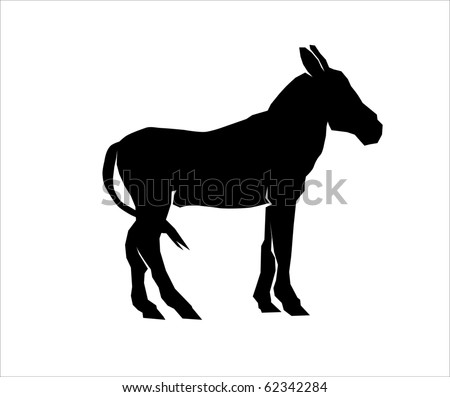 Silhouette of a mule - stock photo
