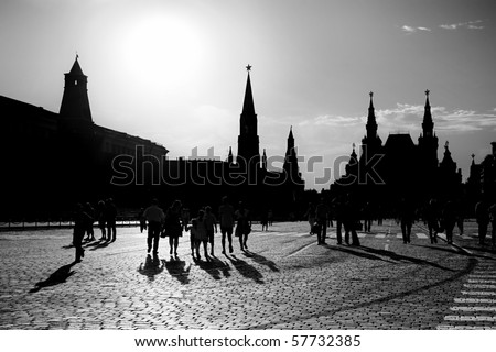 Silhouette of a people on  Red Square in Moscow, Russian Federation. National Landmark. Tourist Destination. - stock photo