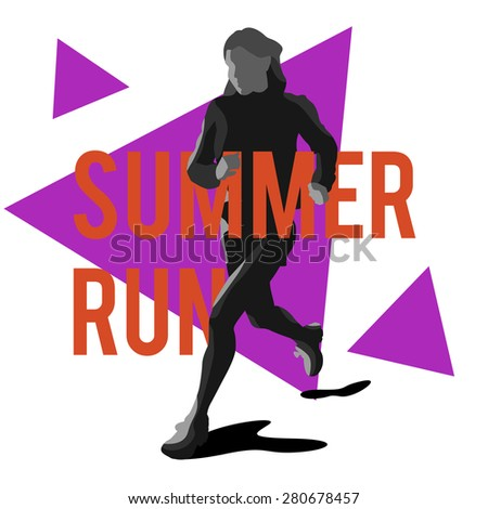 Silhouette of a running girl athlete on the background of triangles with stylish typographic. Vector illustration with triangles - stock photo