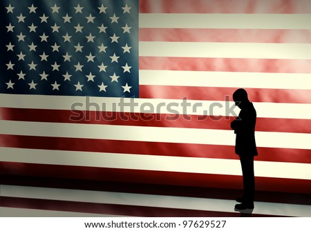 Silhouette of a sad politician on american flag background with vintage look - stock photo