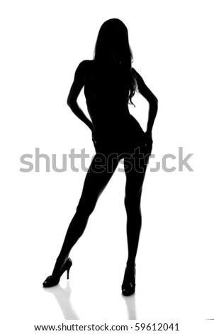 Silhouette of a Sexy Woman Modeling - stock photo