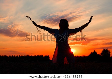 silhouette of a slender young woman against the evening sky - stock photo