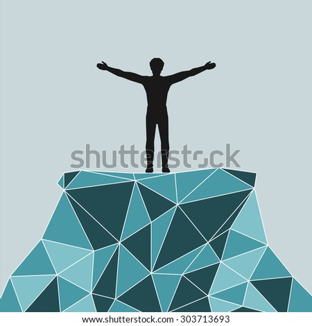 silhouette of a successful mountaineering on a mountain summit.  illustration scale to any size. All elements are grouped. - stock photo