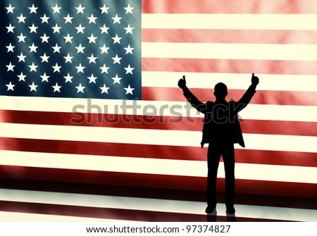 Silhouette of a thumbs up politician on american flag background - stock photo