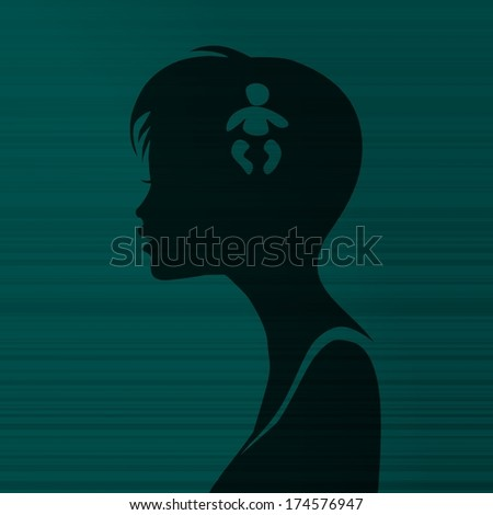 silhouette of a tiny girl head with a baby on stylish line background - stock photo