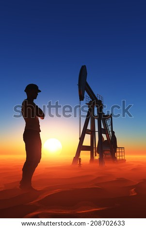 Silhouette of a worker in the desert. - stock photo