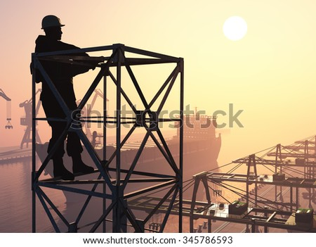 Silhouette of a worker in the port. - stock photo