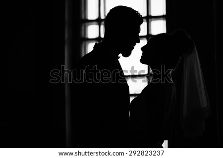 silhouette of a young bride and groom - stock photo