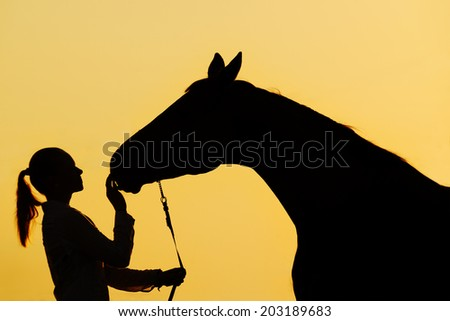Silhouette of a young  girl with horse at the sunset  - stock photo