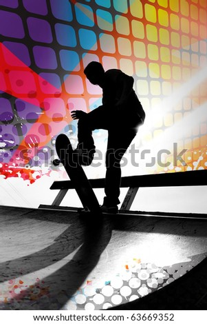 Silhouette of a young teenage skateboarder going down a ramp with colorful graphic elements and grungy halftone. - stock photo