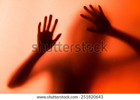 silhouette of action of woman scream - stock photo