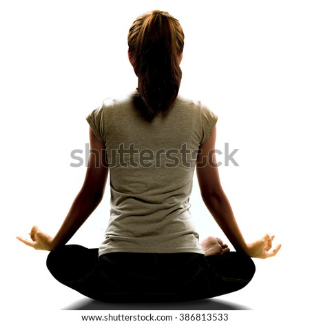 Silhouette of Asian woman yoga isolated on white background. Image create for business, healthcare, sport and lifestyle of people, - stock photo