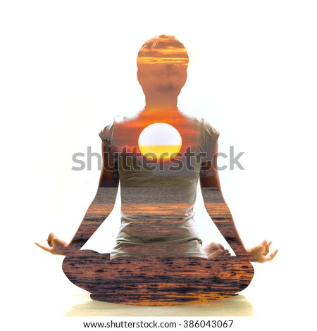 Silhouette of Asian woman yoga on the beach at the sunrise in the morning. Image by double layer technique create for business, healthcare, sport and lifestyle of people.  - stock photo