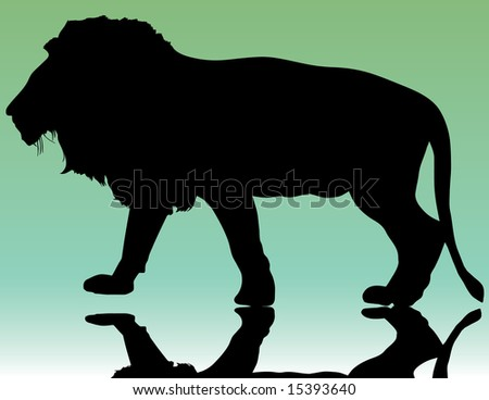 silhouette of beautiful lion on green background illustration - stock photo