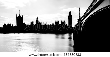 Silhouette of Big Ben and Houses of Parliament, London, UK - stock photo