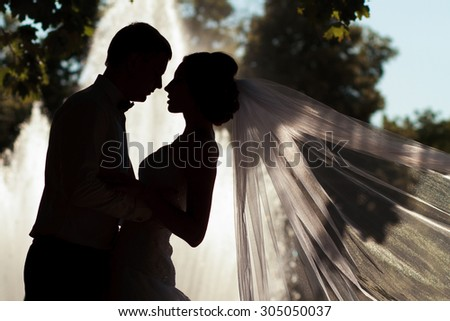 Silhouette of bride and groom at fountain - stock photo