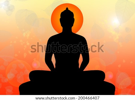 Silhouette of buddha - stock photo