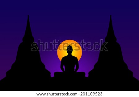 Silhouette of buddha at night,Thailand - stock photo