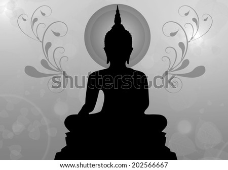 Silhouette of buddha , Thailand - stock photo