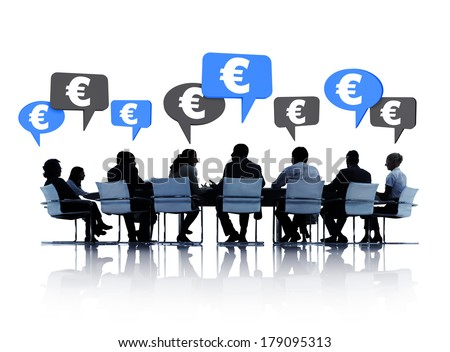 Silhouette of Business Meeting with Euro Currency Discussion - stock photo