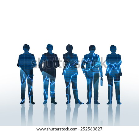 Silhouette of business team at forex graph - stock photo