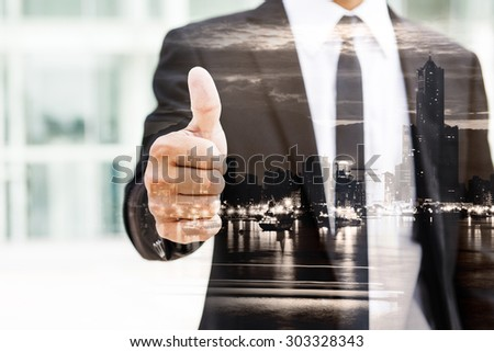 Silhouette of businessman stand and look far away in Hong Kong, Asia. Double exposure. - stock photo