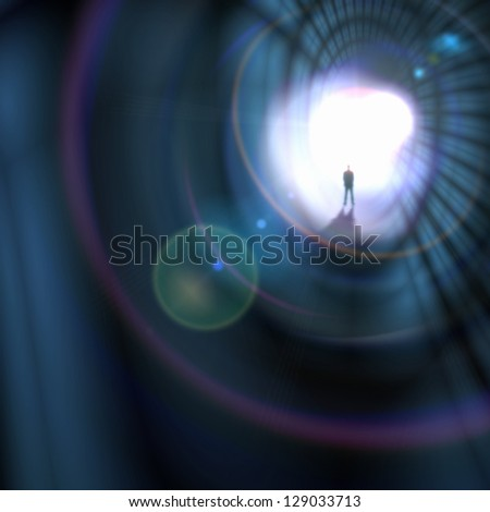 Silhouette of businessman standing in color background - stock photo