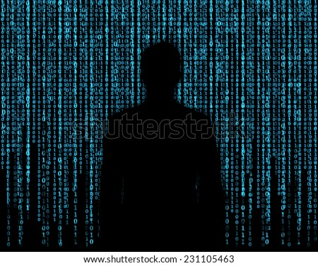 Silhouette of businessman who is appeared through the matrix background  - stock photo