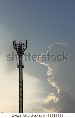 Silhouette of Cellular network - stock photo