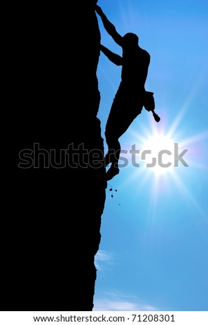 Silhouette of climber. Element of deisgn. - stock photo