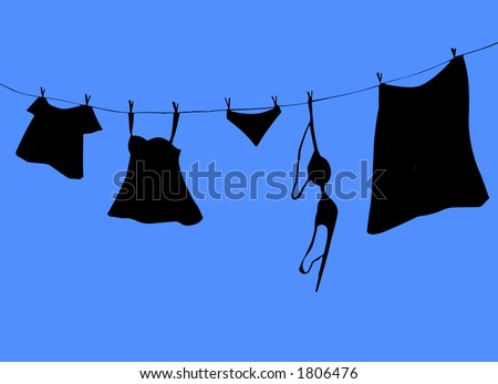 Silhouette of clothesline - stock photo