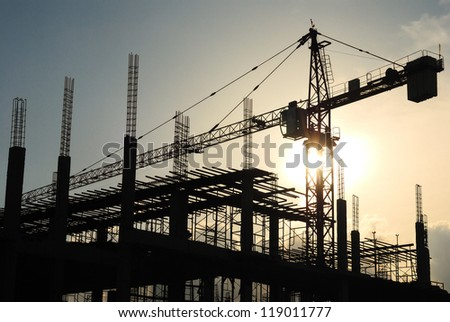 silhouette of construction site - stock photo