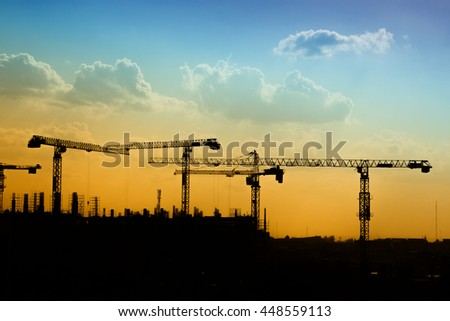 silhouette of construction site for background - stock photo