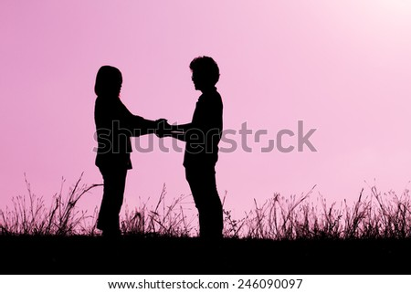 Silhouette of couple in love,Love and sensuality and valentine day concept on pink - stock photo