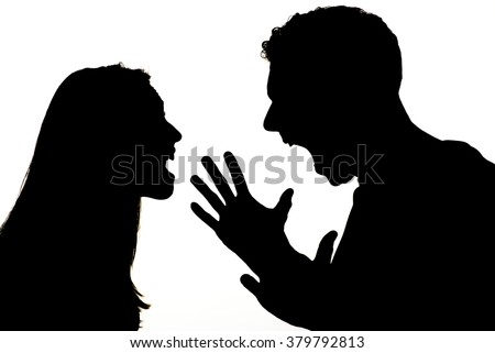 Silhouette of couple violence. They are angry and shouting face to face. - stock photo