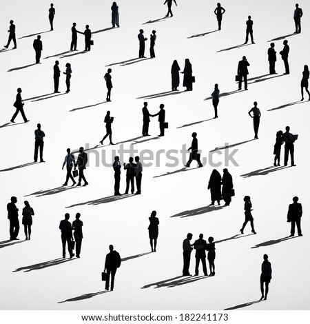 Silhouette of Crowd of Business People - stock photo
