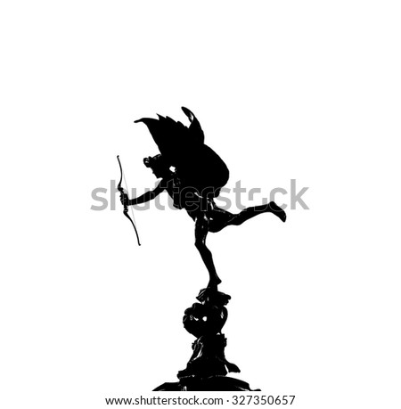 silhouette of Eros statue at Piccadilly circus in London on white background - stock photo