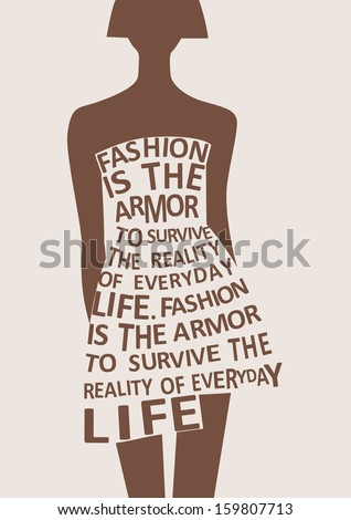 Silhouette of fashion woman in dress from words.  - stock photo